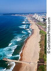 アフリカ, ダーバン, 航空写真, 南, 光景