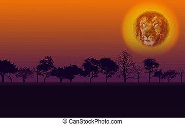 アフリカ, ベクトル, 日没, 自然