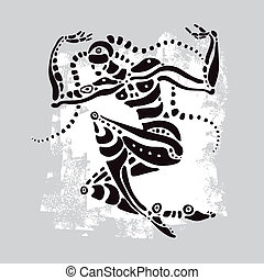 アフリカ, ベクトル, illustration., dancer., 民族