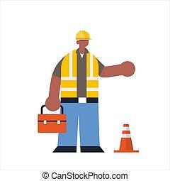 アフリカ, 保有物, イラスト, 建物, ユニフォーム, 平ら, 地位, ベクトル, 労働者, 労働者, アメリカ人, 忙しい, ポーズを取りなさい, フルである, 建設, 産業, 長さ, マレ, 道具箱, 建築者, 概念