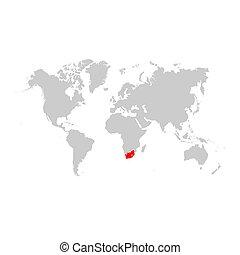 アフリカ, 地図, 世界, 南