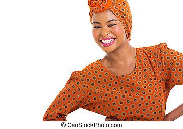 アフリカ, 女の子, 中に, 伝統的である, 衣服