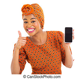 アフリカ, 女の子, 保有物の細胞電話, そして, 「オーケー」