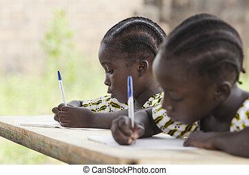 アフリカ, 子供, ∥において∥, 学校, すること, homework., アフリカの民族性, 生徒, 執筆,...