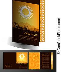 アフリカ, 旅行パンフレット, デザイン, テンプレート