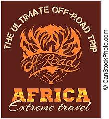 アフリカ, 旅行, emblem., -, 極点, ベクトル, オフロード