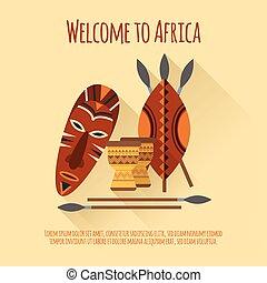 アフリカ, 歓迎, 平ら, アイコン, ポスター