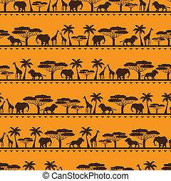 アフリカ, 民族, seamless, パターン, 中に, 平ら, style.
