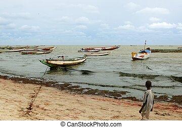 アフリカ, 海岸, セネガル, 漁師, ボート, 大西洋