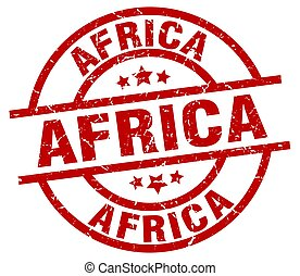 アフリカ, 赤, ラウンド, グランジ, 切手