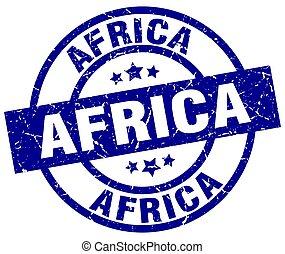 アフリカ, 青, ラウンド, グランジ, 切手