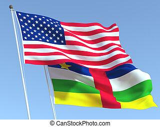 アフリカ, business., 旗, 合併した, reportage, sky., 3d, 青, 中央である, 州, ニュース, イラスト, 共和国
