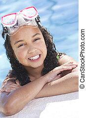 アフリカ, interracial, アメリカ人, 子供, 女の子, プール, 水泳