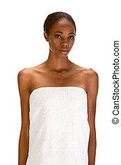 アフロ - american, タオル, 浴室, 女性, 包まれた, 白