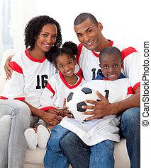 アフロ - american, 家族, 幸せ