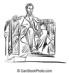 アブラハム・リンカーン, freehand, スケッチ