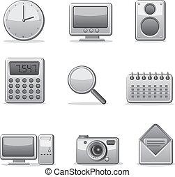 アプリケーション, コンピュータ, セット, アイコン