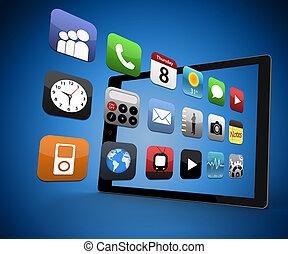 アプリケーション, 出て来ること, から, デジタルタブレット