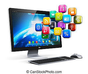 アプリケーション, 概念, コンピュータ, インターネット