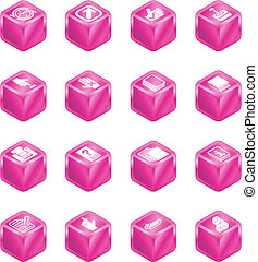 アプリケーション, 立方体, シリーズ, セット, アイコン