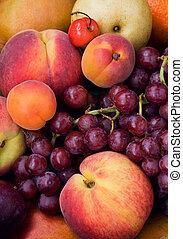 アプリコット, アップル, ブドウ, 桃, さくらんぼ