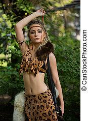 アマゾン, 緑, ポーズを取る, 森林, 女, 弓