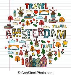 アムステルダム, いたずら書き, ベクトル, オランダ, icons., netherlands, パターン, style.