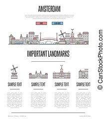 アムステルダム, スタイル, infographics, 線である, 旅行