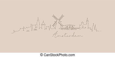 アムステルダム, ペン, シルエット, 線, ベージュ