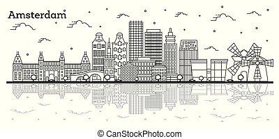 アムステルダム, 反射, netherlands, 隔離された, 歴史的な建物, スカイライン, 都市, white., アウトライン