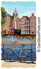 アムステルダム, 自転車, カラフルである