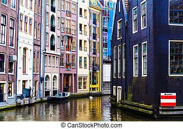 アムステルダム, 運河, 典型的, 家