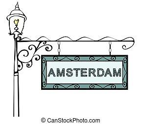 アムステルダム, lamppost., ポインター, レトロ, 型