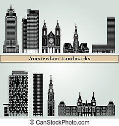 アムステルダム, v2, ランドマーク, そして, 記念碑