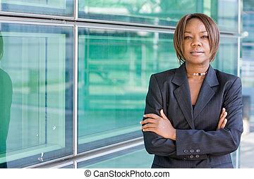 アメリカの女性, 黒, ビジネス, アフリカ