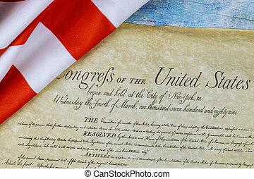アメリカの州, 憲法, 旗, 波立たせられる, クローズアップ, アメリカ, preamble, 合併した