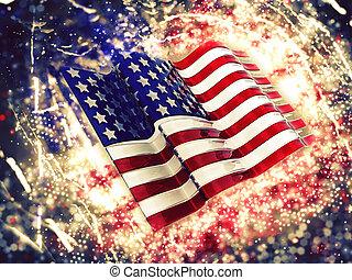 アメリカの旗, 背景, sparkly