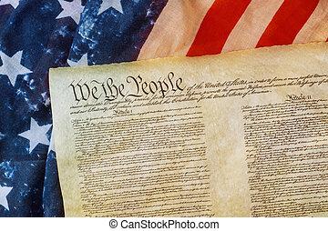 アメリカの法案, 権利, 旗, クローズアップ, 私達, 人々, グランジ