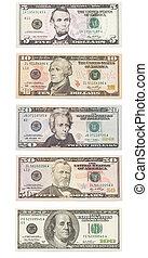アメリカの ドル, 紙幣, 隔離された, 上に, white., セット