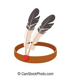 アメリカインディアン, 漫画, 頭飾り, アイコン