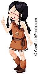 アメリカインディアン, 衣装, 女の子, ネイティブ