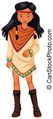 アメリカインディアン, 衣装, 女性, ネイティブ