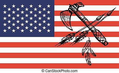 アメリカインディアン, tomahawks, 上に, usaフラグ, 背景