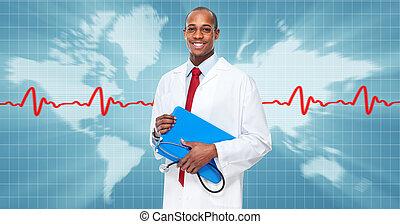 アメリカ人, アフリカ, 医学, man., 医者