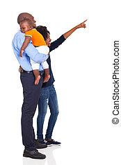 アメリカ人, アフリカ, 若い 家族, 指すこと