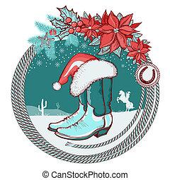アメリカ人, カウボーイブーツ, そして, santa, 赤い帽子, 上に, クリスマス, 背景