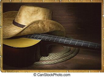 アメリカ人, カントリーミュージック, 背景, ∥で∥, ギター, そして, カウボーイ, 衣服