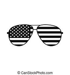 アメリカ人, ガラス, 旗, アイコン