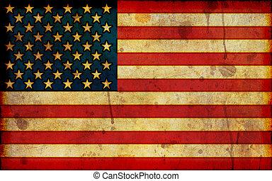 アメリカ人, グランジ, 旗, イラスト