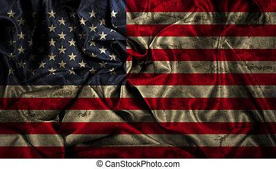 アメリカ人, グランジ, 旗, 背景